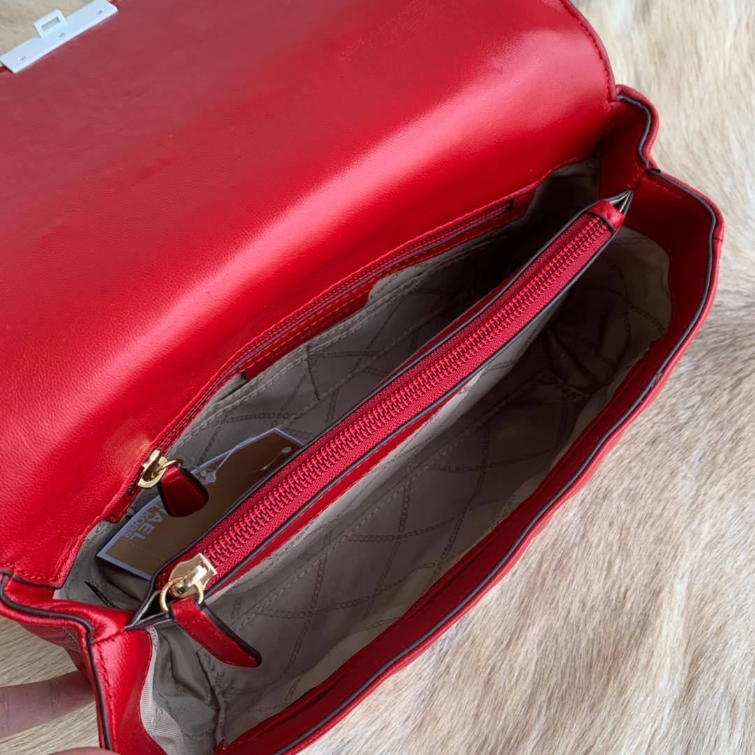 MK2019春夏新款菱格包 迈克高仕MK字母点缀菱格链条单肩女包25CM 红色